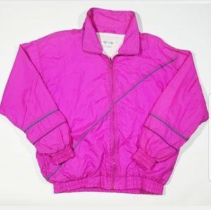 VTG 80s 90s Asymmetric Zip Windbreaker Jacket
